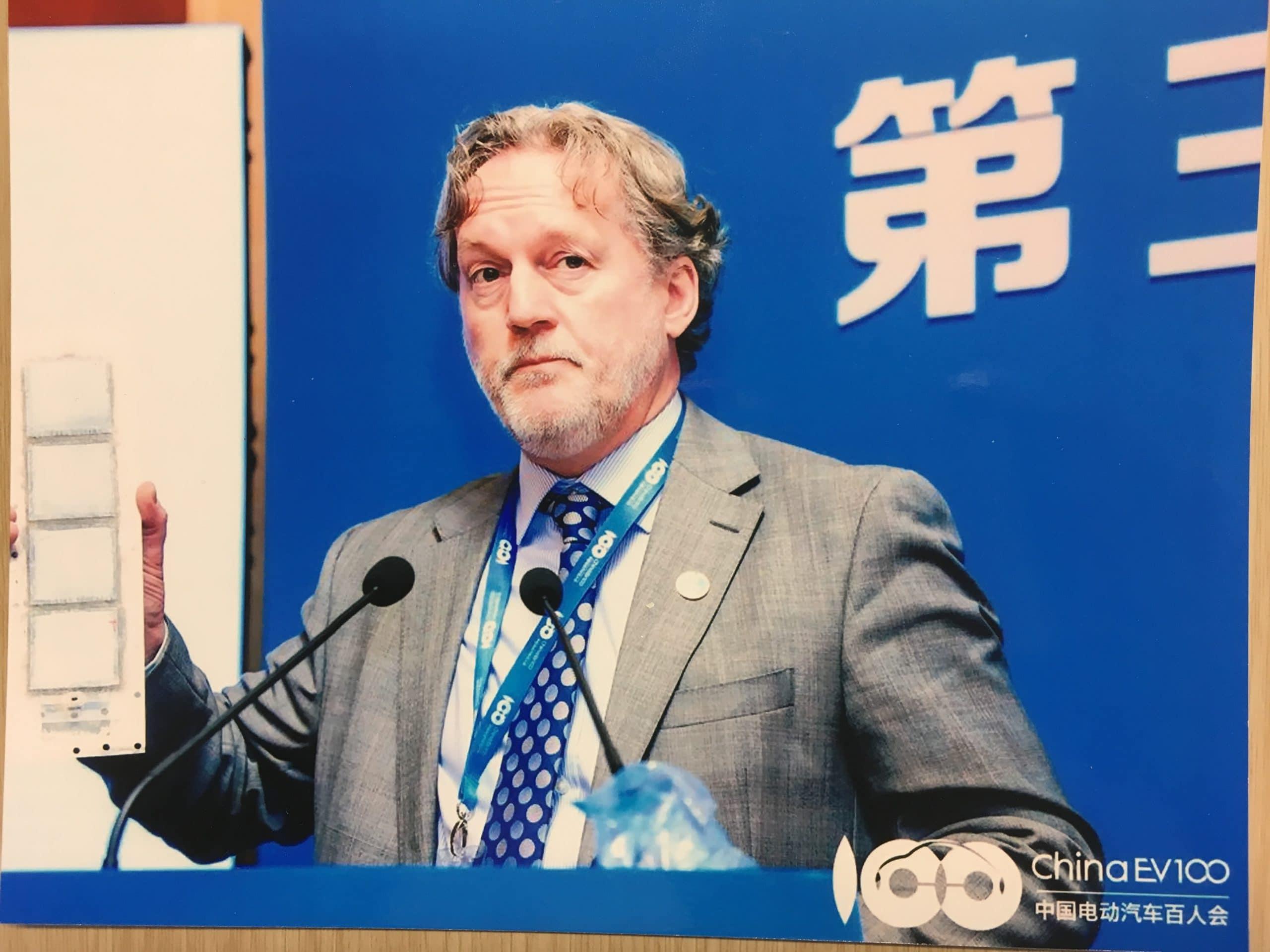 Trevor presenting at the China 100 EV Conference, Beijing 2019
